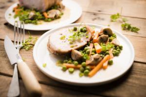 Rôti de porc petits pois et champignons Cookeo